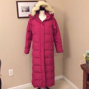 L.L. Bean bright pink long goose down coat, Sz S